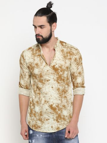 Showoff | Yellow Showoff Men's Cotton Printed Slim Casual Kurtas