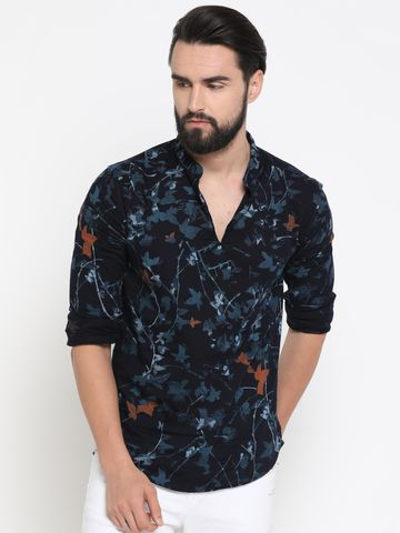 Showoff | Navy Blue Showoff Men's Cotton Printed Slim Casual Kurtas