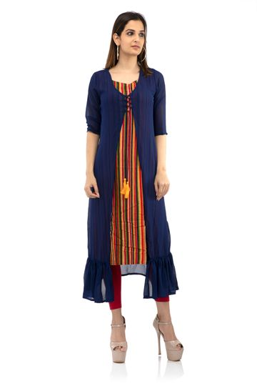 becoming | Solid and stripes two pieces kurti