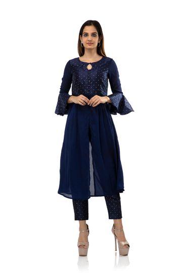 becoming | Blue cotton silk stilled top