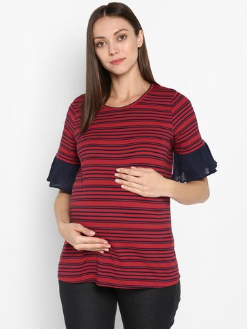 Mothercare | Momsoon women maternity half sleeve top-Striped Red