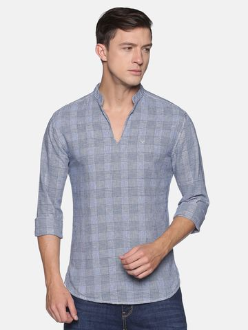 Showoff | SHOWOFF Men's  Cotton Casual Blue Checks Slim Fit Kurta