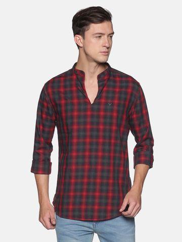 Showoff | SHOWOFF Men's  Cotton Casual Red Checks Slim Fit Kurta
