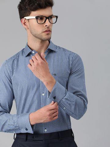 The Bear House | Men Blue & White Slim Fit Striped Formal Shirt