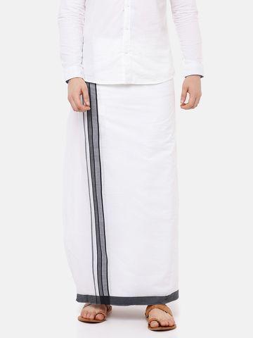 Ramraj Cotton | BHUMAN FANCY 2 PLAIN WHITE  DHOTI BLACK BORDER