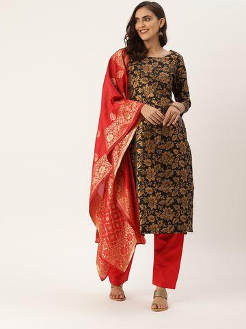SATIMA   Women's Black Jacquard Woven Un-stitched Dress material