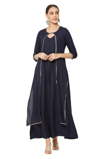 GAYRAA | Flared Anarkali blue ankle length Gown