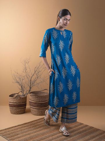GAYRAA | Printed straight blue kurta with palazzo
