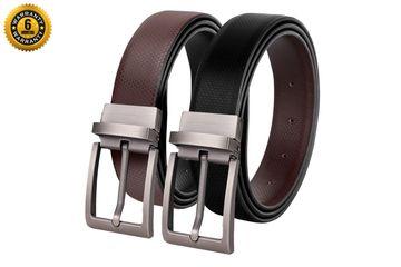 SCHARF   SCHARF Reversible Stitched Vegan Leather Formal Belt for Men   6 Months Warranty