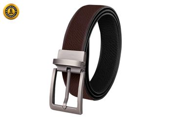 SCHARF | SCHARF Reversible Stitched Vegan Leather Formal Belt for Men | 6 Months Warranty