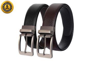 SCHARF | SCHARF Reversible Stitched Vegan Leather Formal Belt for Men | 6 Months Warranty