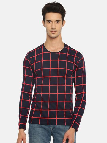 Braveo | Round neck full sleeve tshirt with windowpane check print