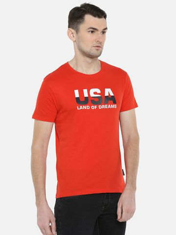 Braveo | Braveo Red Short Sleeves Round Neck Tshirt