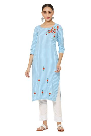 GAYRAA | Embroidered straight blue kurta with pant
