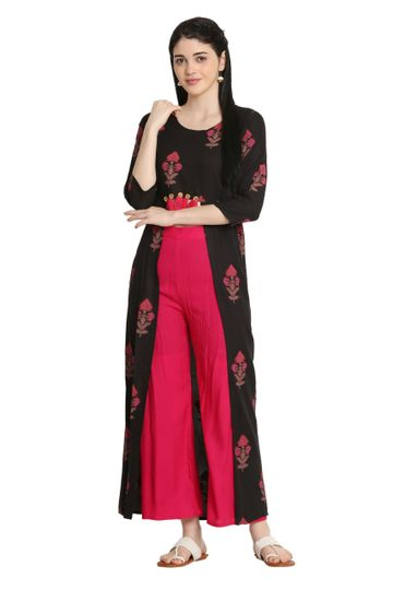 GAYRAA | printed straight black kurta with palazzo