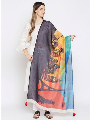 Get Wrapped | Get Wrapped Digital Multicolour Dupatta with Fancy Tassels for Women