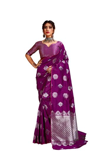 Glemora | Glemora Wine Lichi Silk Bhagyashree Saree With Unstitched Blouse