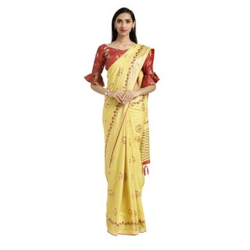 SATIMA | Satima Yellow Silk Floral Print & Foil Saree