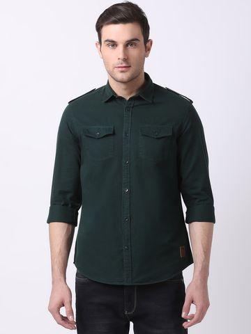 The Bear House   Green Casual Shirt