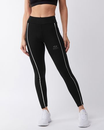 Masch Sports   Masch Sports Women's Black Solid Sports Tights with Front White Piping