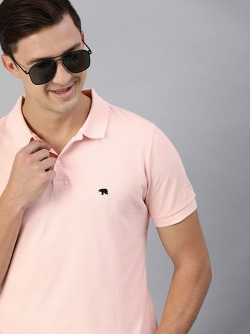 The Bear House | Pink Solid Polo T-Shirt