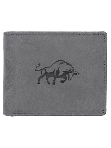 WildHorn | WildHorn RFID Protected Genuine High Quality Leather Grey Wallet for Men