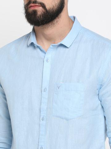 Showoff | Blue Showoff Mens Linen Solid  Slim Casual Shirts