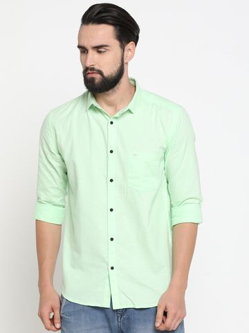 Showoff | Green Showoff Mens Linen Solid  Slim Casual Shirts