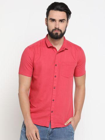Showoff | Red Showoff Mens Cotton Solid  Slim Casual Shirts