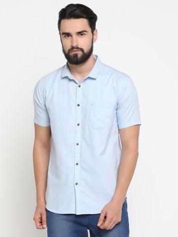 Showoff | Blue Showoff Mens Cotton Printed  Slim Casual Shirts