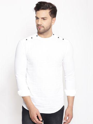 Showoff | SHOWOFF Men's  Lenin  White Solid Slim Fit Kurta
