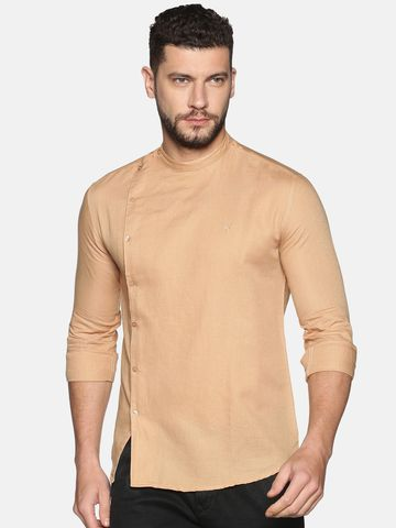 Showoff   SHOWOFF Men's Lenin Casual Cream Solid Slim Fit Shirt
