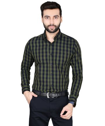 5th Anfold | Fifth Anfold Pure Cotton green black Checkered Full Sleev Spread Collar Mens Formal shirt