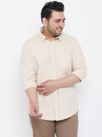 Chennis | Chennis Men's Casual Beige Plus Size Shirt