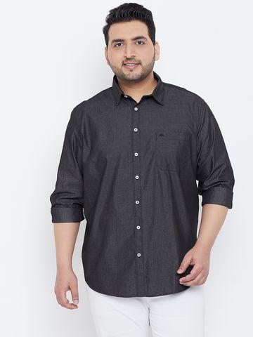 Chennis | Chennis Men's Casual Charcoal Plus Size Shirt
