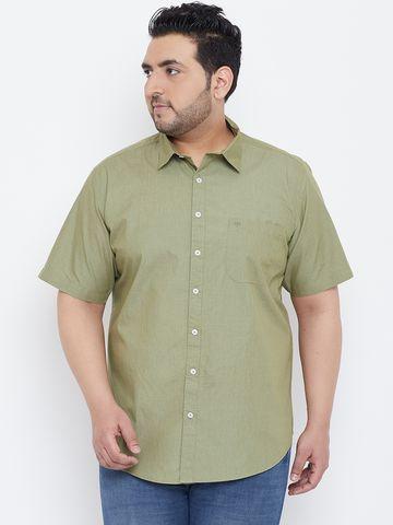 Chennis | Chennis Men's Casual Olive Plus Size Shirt