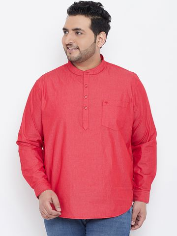 Chennis | Chennis Mens Casual Red Plus Size Shirt Kurta