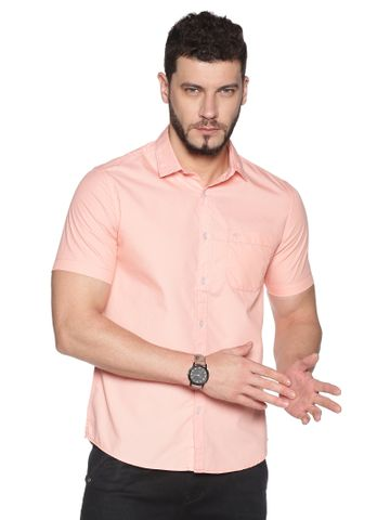 Chennis | Chennis Men's Pink Cotton Casual Shirt