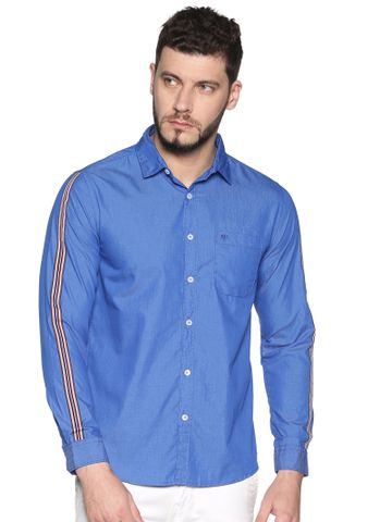 Chennis | Chennis Men's Ink Blue Cotton Casual Shirt With Side Tape on Sleeves