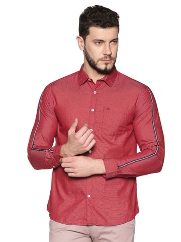 Chennis | Chennis Men's Maroon Cotton Casual Shirt With Side Tape on Sleeves