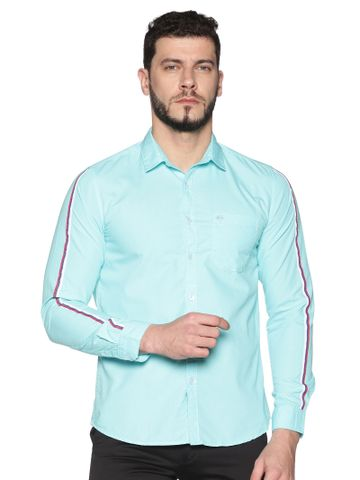 Chennis | Chennis Men's Aqua Cotton Casual Shirt With Side Tape on Sleeves