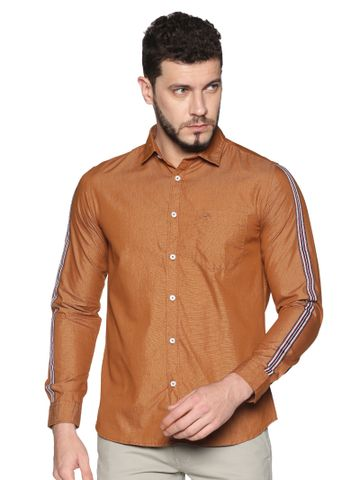 Chennis | Chennis Men's Rust Cotton Casual Shirt With Side Tape on Sleeves