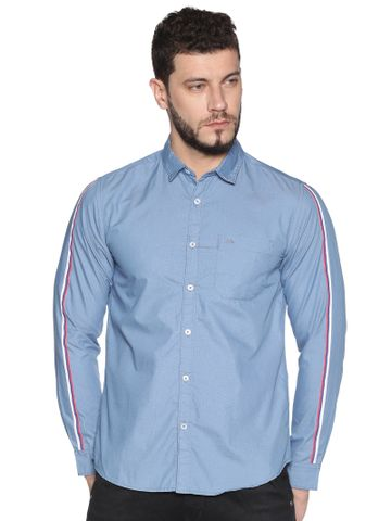 Chennis | Chennis Men's Blue Cotton Casual Shirt With Side Tape on Sleeves