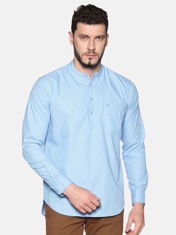 Chennis | Chennis Men's Powder Blue Casual Cotton Kurta