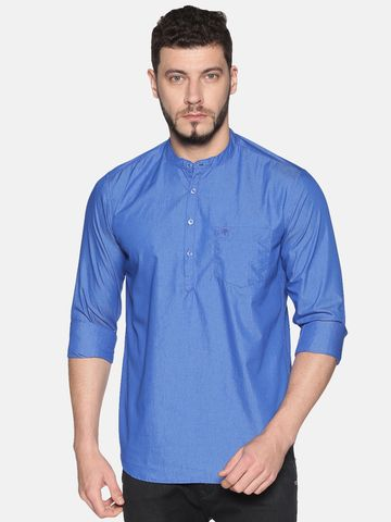 Chennis | Chennis Men's Ink Blue Casual Cotton Kurta