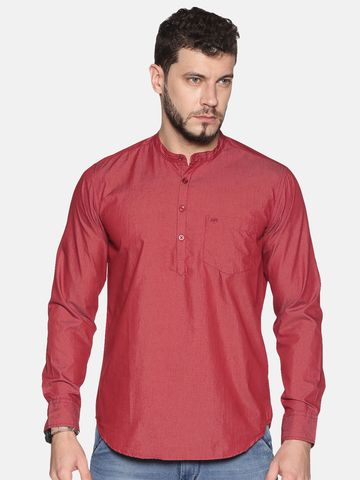 Chennis | Chennis Men's Maroon Casual Cotton Kurta