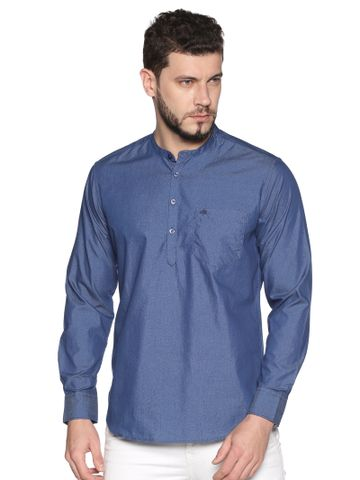 Chennis | Chennis Men's Navy Blue Casual Cotton Kurta
