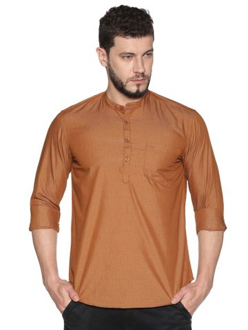 Chennis | Chennis Men's Rust Casual Cotton Kurta
