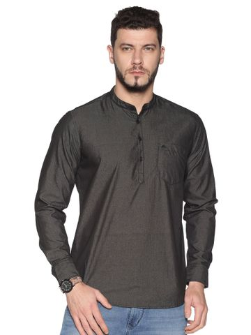Chennis | Chennis Men's Charcoal Casual Cotton Kurta