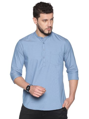Chennis | Chennis Men's Blue Casual Cotton Kurta